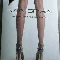 Via Spiga Black Fashion Tights Lace Style Floral Pattern Size C/d L Xl New Boxed Photo