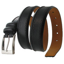 Via Spiga Black Genuine Leather Mens Belt Embossed Stitched Size 34 Photo