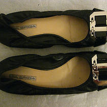 Via Spiga Black Leather Ballet Flats Women's Size 9 1/2 M Cushioned Photo