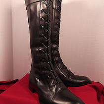 Via Spiga Black Leather Boots Laced Size 5 1/2 Med in Beautiful Shape. Photo