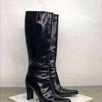 Via Spiga Black Leather Knee High Heel Boots Photo
