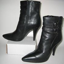 Via Spiga Black Leather Pointy Toe Ankle Zip Boots Made in Italy Size 8 B M  Photo