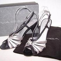 Via Spiga Black Leather Silver Wht Satin Strappy Slingback Heels Pumps Shoes 8.5 Photo