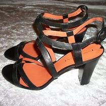 Via Spiga Black Leather Strappy High Heels New Size 10 Photo