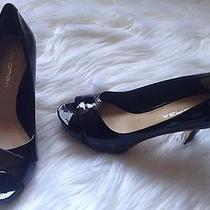 Via Spiga Black Patent Leather Open Toe Heels Shoes Size 6 Us Photo