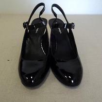 Via Spiga Black Patent Leather Slingback Wedge Size 8.5 M Photo