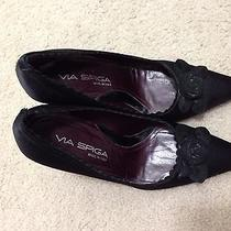 Via Spiga Black Satin Heels Pumps 5.5 Photo