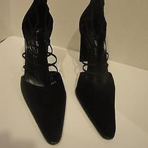 Via Spiga  Black  Suede Strappy High Heel Shoessexy 10 M   Photo