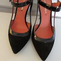 Via Spiga Black Suede W/patent Trim Heels 6m. 4