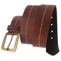 Via Spiga Brown Genuine Leather Mens Belt Contrast Stitched Size 40 Photo