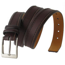 Via Spiga Brown Genuine Leather Mens Belt Embossed Stitched Size 32 Photo