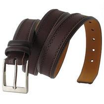Via Spiga Brown Genuine Leather Mens Belt Embossed Stitched Size 32 Photo