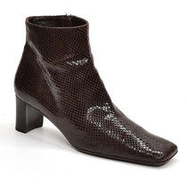 Via Spiga Brown Leather Ankle Boots Ladies 7.5 M Snake Pattern Made in Italy Photo