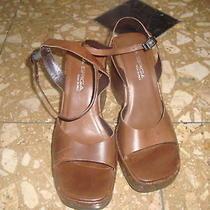 via Spiga Brown  Leather Ankle Strap Wedge Heels  Photo