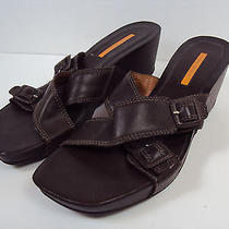 Via Spiga Brown Leather Clog Wedge Sandals Shoes Women's 11m Euc Photo