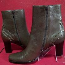 Via Spiga Brown Leather Side Zip Ankle Boot Heels Size 6.5 M Italy Photo
