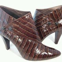 Via Spiga Brown Patent Leather Croc Lydia Pointed Bootie Ankle Boots 9.5 Photo