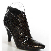 Via Spiga Brown Patent Leather Pointed Toe Ankle Bootie Heels Sz 8 Photo