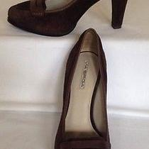 Via Spiga Brown Suede Leather Classic Heel Loafer Pump Shoes Women's Size 10m Photo