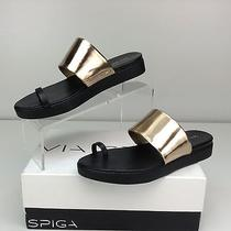 Via Spiga Charline Black Gold Nappa Specchio Platform Toe Ring Sandal 9 M Eu 40 Photo