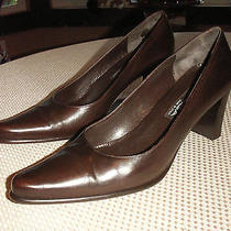 Via Spiga Chocolate Leather Pumps Heels Slip Ons  Sz 10m Photo