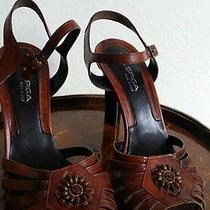Via Spiga Cognac Sandal Wood Heel 9.5m Photo