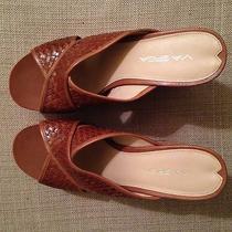 Via Spiga Cork Wedge Sandals With Mahogany Leather Straps 9.5 Nwt Photo