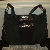 Via Spiga Dark Taupe Brown Suede Leather  Shoulder Hobo Bag Tote Purse Nwot Photo