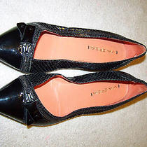 Via Spiga Designer Black Snake Zipper Cap Toe Leather Flats 8 Photo
