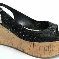 Via Spiga Ebony Womens Platform Slingbacks Sandals Shoe Sz 8.5 M Black Leather Photo