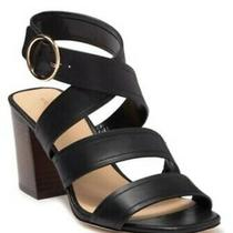 Via Spiga Elianna Block Heel Leather Strappy Sandal Black Women's Size 7.5 M Photo