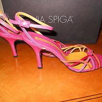 Via Spiga Fuschia-Orange Strappy Leather Sandal Size 7.5   Photo