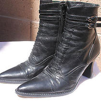 Via Spiga Granny Boot Western Ankle Boot Solid Black Leather Womens Size 6.5 Photo