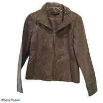Via Spiga Gray Snakeskin Reptile Leather Zip Front Jacket Womens Size Small Photo