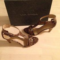 Via Spiga Habitat Cappuccino Snake Print Women's Leather Heels Size 8 1/2 Nwb Photo