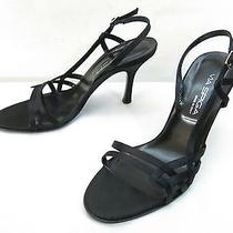 Via Spiga High Heel Sandals 9 Black Satin Stiletto Slingback Strappy Dress Shoes Photo