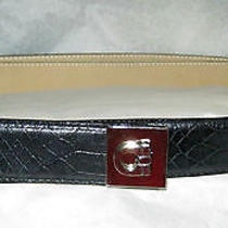 Via Spiga Italian Black Moc Croc Leather Belt M 33