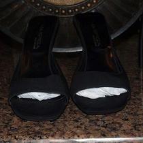 Via Spiga Italian Black Size 8.5 M Barebacks  Fabric Open Toe Heels  Photo