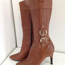 Via Spiga Italy Camel Brown Lined Leather Tall Knee High Zip Boot Womens 9m Photo