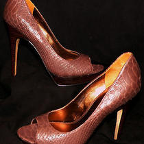 Via Spiga Italy v Elora Chocolate Brown Snakeskin Peep Toe Platform Pumps 8m Photo