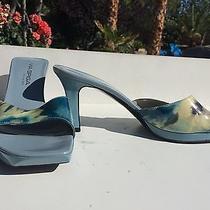 Via Spigaitalywomen's Sz9  Blue Art Work Slip on Open Toe Shoes - 3