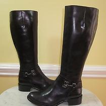 Via Spiga Kali Tall Black Leather Knee High Riding Boots Sz 5.5 Euc 398 Photo