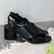 Via Spiga Lilah Black Leather Block Heel Crisscross Sandals Women's Size 9 M Photo