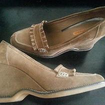 Via Spiga Lt Brown Khaki Olive Wedge Loafer Oxford Tassel Casual Comfortable 9.5 Photo