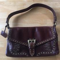 Via Spiga Mahogany Brown Leather Brass Studded Shoulder Handbag Purse Photo