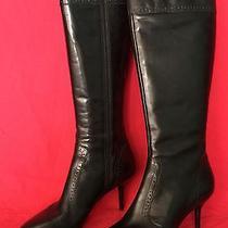 Via Spiga Marlene Black Fashion Knee-High Boots Size 7.5m New Retail 375 Photo