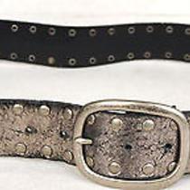 Via Spiga Metallic Silver Studded Leather Belt 38 L Photo