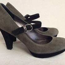 Via Spiga Micro Gray Suede Mary Jane Platform Pumps Heels Shoes 7 M Photo