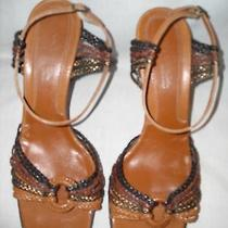 Via Spiga Multi-Tone Browns Braided Leather Ankle Strap Sandals Size 10 Med. Photo
