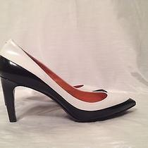 Via Spiga New Black White Leather  Two Tone Shoes High Heels Size 9- 9.5 Women Photo